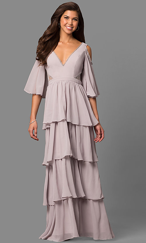 Image of long mother-of-the-bride chiffon dress with v-neck. Style: LP-24599 Detail Image 1