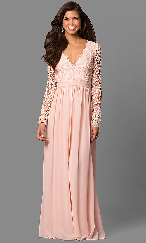Mother-of-the-Bride V-Neck Long-Sleeve Gown - PromGirl