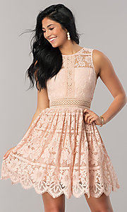 Short A-Line Lace Party Dress with Scalloped Hem