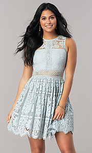 Image of short a-line lace party dress with scalloped hem. Style: LP-24388 Front Image