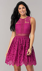Image of short a-line lace party dress with scalloped hem. Style: LP-24388 Detail Image 2