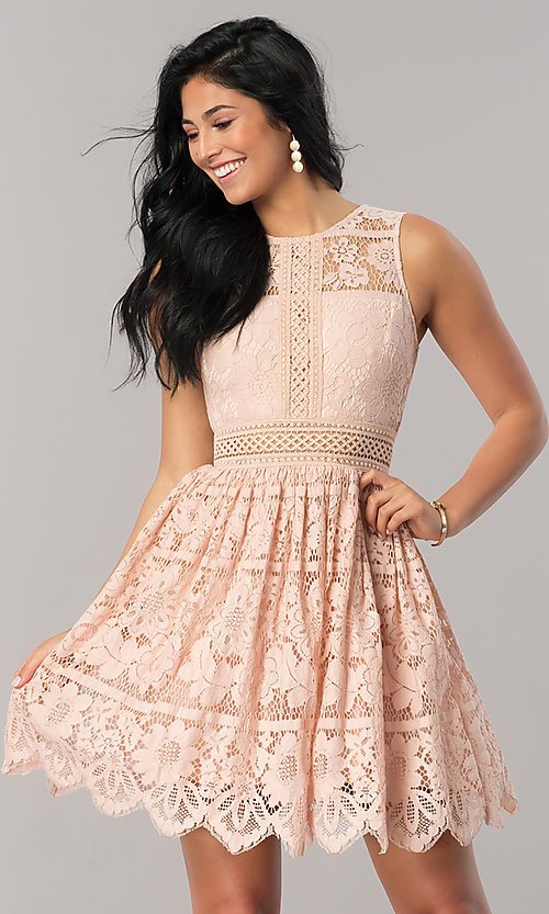 Image of short a-line lace party dress with scalloped hem. Style: LP-24388 Detail Image 1