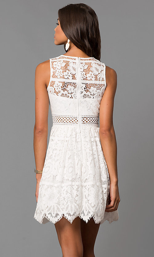 Image of short a-line lace party dress with scalloped hem. Style: LP-24388 Back Image