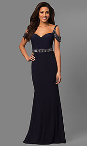 Long Cold-Shoulder Navy Blue Mother-of-the-Bride Dress