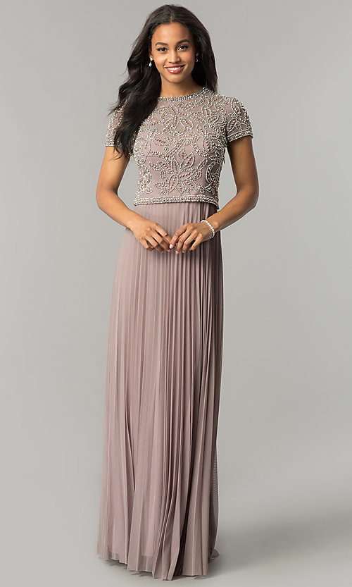df5e4cf86228 Long Mother-of-the-Bride Dress with Short Sleeves
