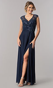 Long V-Neck Mother-of-the-Bride Dress with Embroidered Lace