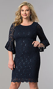 Short Plus-Size Party Dress with Bell Sleeves