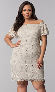 Image of short plus-size lace graduation party dress. Style: JU-TI-T90052 Front Image