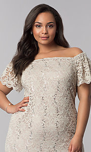 Image of short plus-size lace graduation party dress. Style: JU-TI-T90052 Detail Image 1