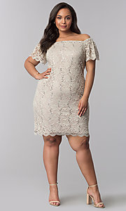 Image of short plus-size lace graduation party dress. Style: JU-TI-T90052 Detail Image 2