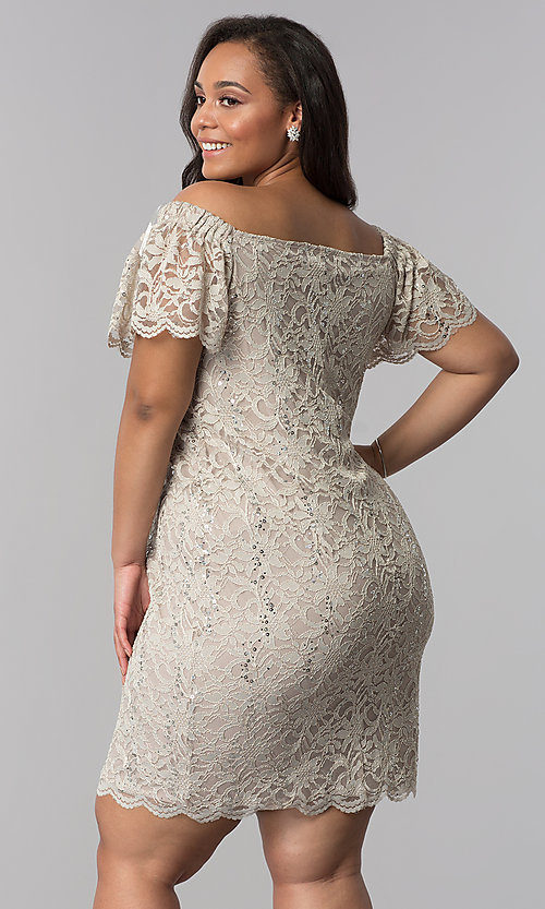 Image of short plus-size lace graduation party dress. Style: JU-TI-T90052 Back Image