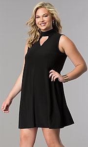 High-Neck Plus-Size Short Shift Party Dress