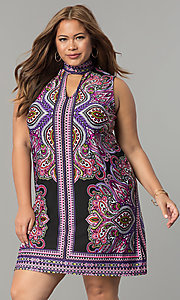 Short Purple Multi Print Plus Party Dress