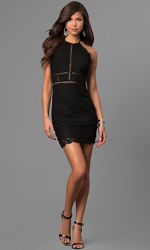 Image of short lace high-neck party dress with scallops. Style: VE-864-211803 Detail Image 1