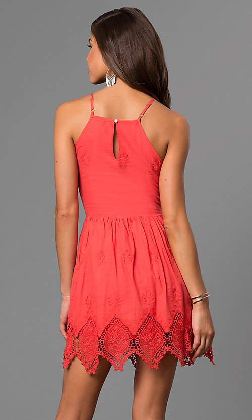 Image of short cotton graduation dress with zig-zag lace hem. Style: VE-865-211032 Back Image