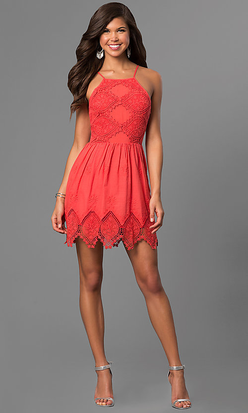 Image of short cotton graduation dress with zig-zag lace hem. Style: VE-865-211032 Detail Image 1