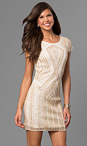 Image of short gold-sequin shift party dress with beads. Style: VE-628-215066-1 Front Image