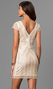 Image of short gold-sequin shift party dress with beads. Style: VE-628-215066-1 Back Image