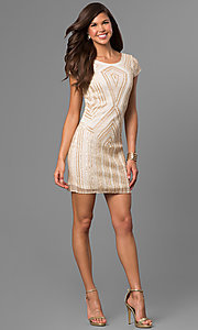 Image of short gold-sequin shift party dress with beads. Style: VE-628-215066-1 Detail Image 1