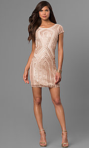 Image of short gold-sequin shift party dress with beads. Style: VE-628-215066-1 Detail Image 3