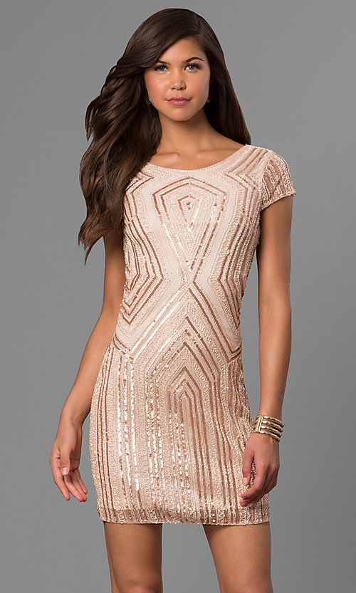 Short-Sleeved Bead and Sequin Party Dress - PromGirl