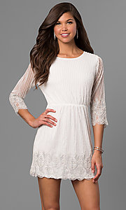 Beaded Short Lace Party Dress with Sheer Sleeves