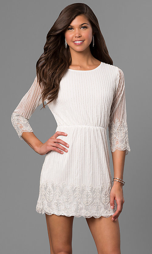 Image of beaded short lace party dress with sheer sleeves. Style: VE-658-213443 Detail Image 1