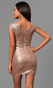 Image of short rose gold sequin party dress with cap sleeves. Style: VE-888-213466 Back Image