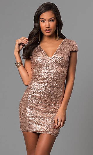 Short Sequin Holiday Party Dress with Cap Sleeves
