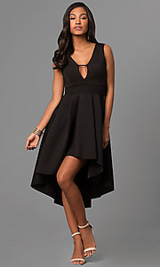 Image of high-low v-neck party dress with front cut out. Style: CL-45271 Detail Image 3