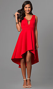 Image of high-low v-neck party dress with front cut out. Style: CL-45271 Detail Image 2