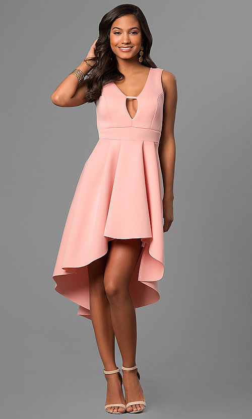 Image of high-low v-neck party dress with front cut out. Style: CL-45271 Detail Image 1