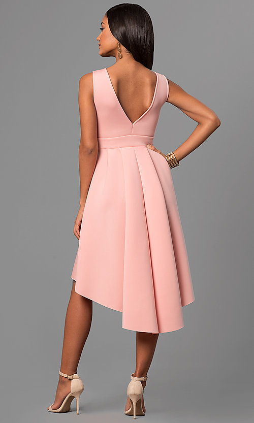 Image of high-low v-neck party dress with front cut out. Style: CL-45271 Back Image