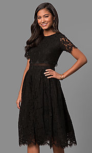 Short-Sleeve Lace Short Party Dress