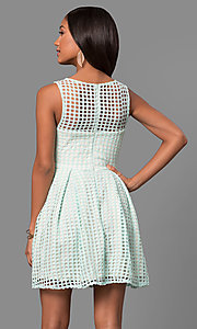 Image of short lace sleeveless party dress with scoop neck. Style: LP-24290 Detail Image 3