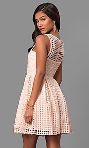 Image of short lace sleeveless party dress with scoop neck. Style: LP-24290 Back Image