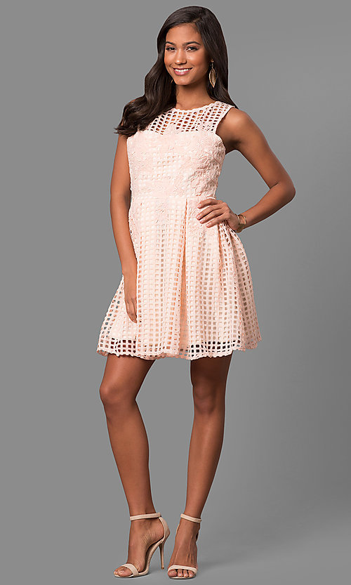 Image of short lace sleeveless party dress with scoop neck. Style: LP-24290 Detail Image 1