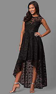 Image of high-low embroidered-lace chiffon party dress. Style: LP-24444 Front Image