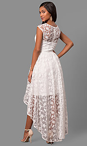 Image of high-low embroidered-lace chiffon party dress. Style: LP-24444 Back Image