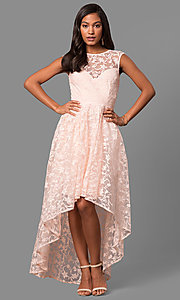 Image of high-low embroidered-lace chiffon party dress. Style: LP-24444 Detail Image 3