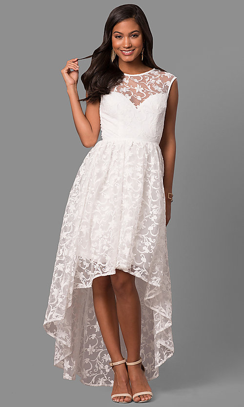 Image of high-low embroidered-lace chiffon party dress. Style: LP-24444 Detail Image 1