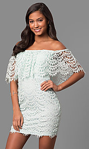 Strapless Off-the-Shoulder Mini Party Dress in Lace