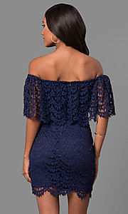 Image of strapless off-the-shoulder mini party dress in lace. Style: LP-24596 Back Image