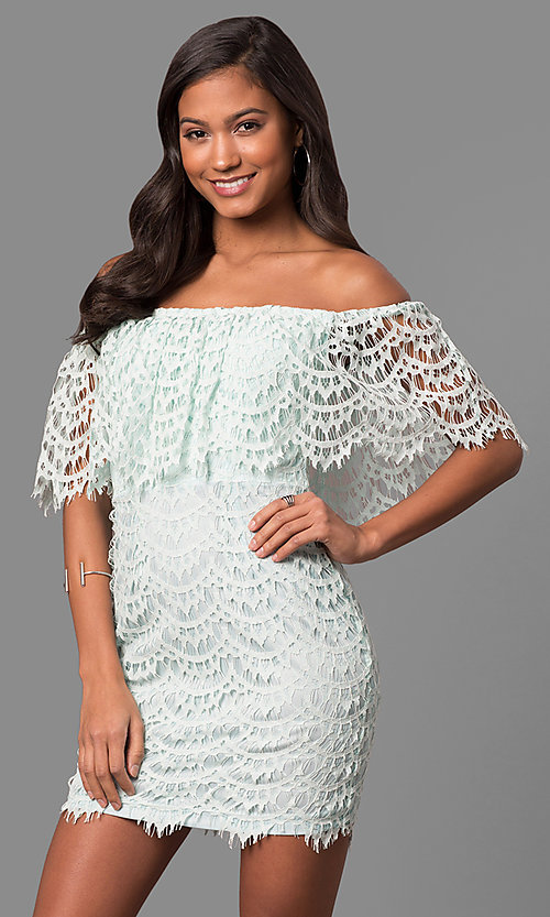 Image of strapless off-the-shoulder mini party dress in lace. Style: LP-24596 Front Image