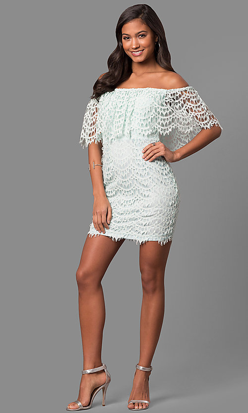 Image of strapless off-the-shoulder mini party dress in lace. Style: LP-24596 Detail Image 3