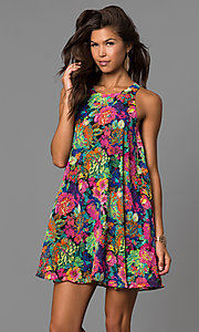 Image of casual cheap shift short party dress under $100. Style: AC-DN22429B Front Image