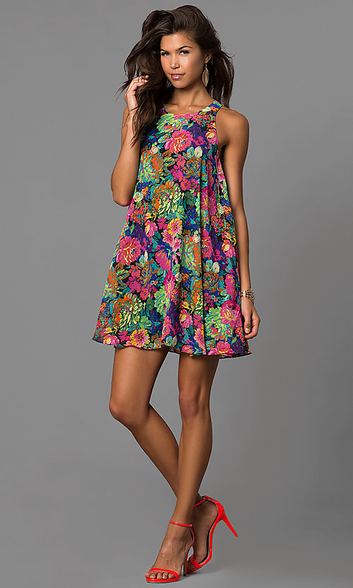 Image of casual cheap shift short party dress under $100. Style: AC-DN22429B Detail Image 1
