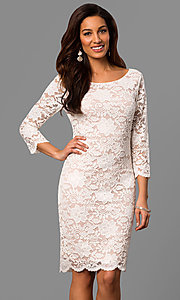 3/4 Sleeve Knee-Length Lace Graduation Dress