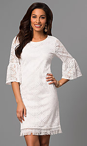 3/4 Bell Sleeve Short Lace Graduation Dress