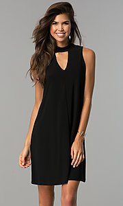 High Neck Short Shift Party Dress with Front Cut Out